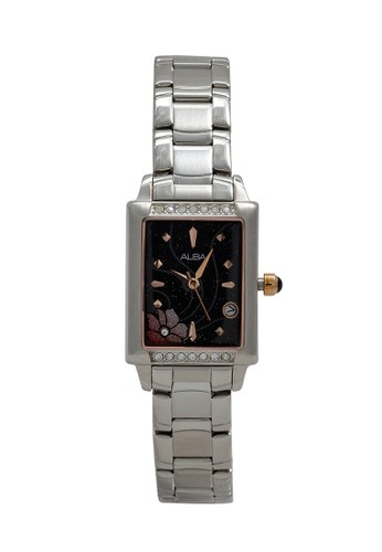 Alba silver ALBA Jam Tangan Wanita - Silver Black - Stainless Steel - AXT391 3C17DAC39C9981GS_1