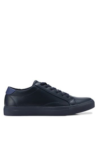ZALORA navy Essential Faux Leather Sneakers 7A13ASH98B6D74GS_1