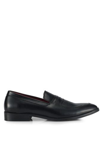 ACUTO black Leather Textured Loafers AC283SH0SL5TMY_1