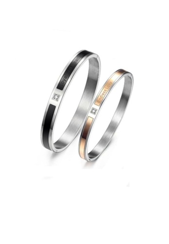 ADORA black and gold Stainless Steel Couple Bangles 169CAAC51EDEE2GS_1