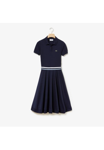 5b948079b Lacoste navy Women's MADE IN FRANCE Tricolour Striped Mid-Length Polo Shirt  Dress-EF3928
