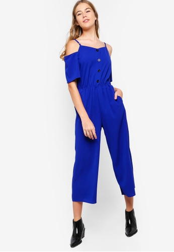 Something Borrowed blue Cold Shoulder Buttoned Down Jumpsuit 01EC2AAD742C0AGS_1