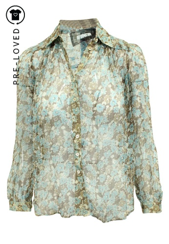 Reformation multi Pre-Loved reformation Blue Floral Print Shirt with Silver Thread B613EAA4D5D717GS_1