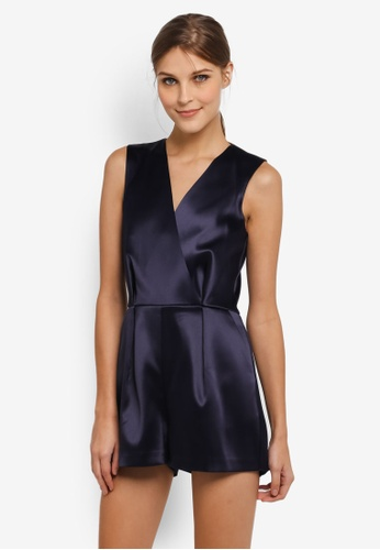 CLOSET navy Wrap Pleated Playsuit CL919AA0SIKWMY_1