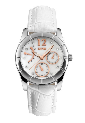 Skmei white SKMEI 6911 Ladies's Fashion Elegant Quartz Leather Strap Watch (White) SK707AC0RXDPMY_1