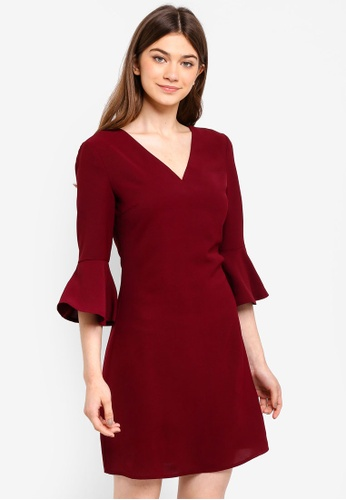 Something Borrowed red Waterfall Sleeves Shift Dress 33146AADE77281GS_1