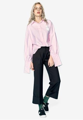 兩用袖口條esprit outlet 桃園紋襯衫, 服飾, 上衣