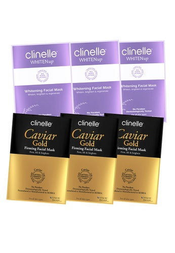 Clinelle Skin Care: Clinelle [Official] CaviarGold Firming (3 sheets) + WhitenUp Whitening Facial Mask (3 sheets) CL708BE99KHSMY_1