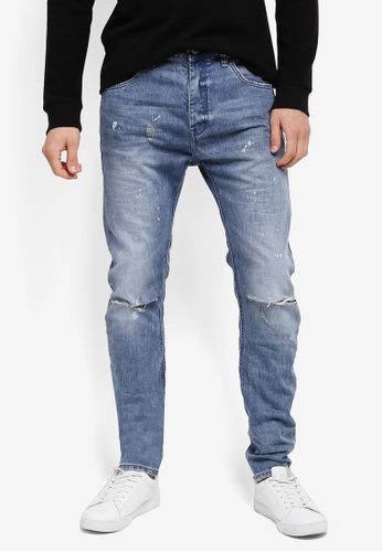 CR7 blue Tapered Leg Rigid Jeans CR532AA0SYI4MY_1