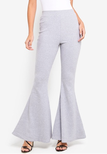 MISSGUIDED grey Cozy Rib Kick Flare Trousers A61FEAA92DAD85GS_1