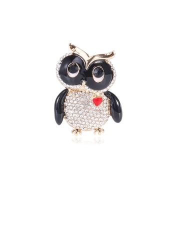 Glamorousky white Fashion and Cute Plated Gold Owl Brooch with Cubic Zirconia EF5C6ACEA55426GS_1
