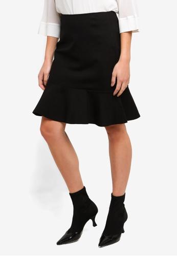 DKNY black Ruffle Hem Skirt 658D3AA8300084GS_1