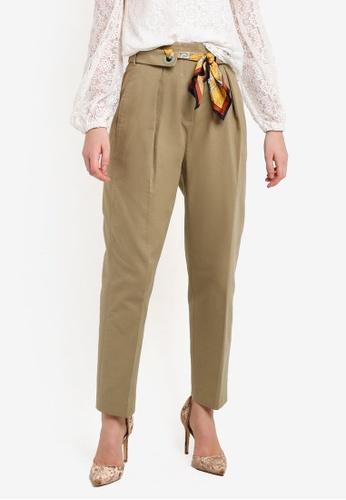 Mango beige Scarf Belt Trousers MA193AA0RIIUMY_1