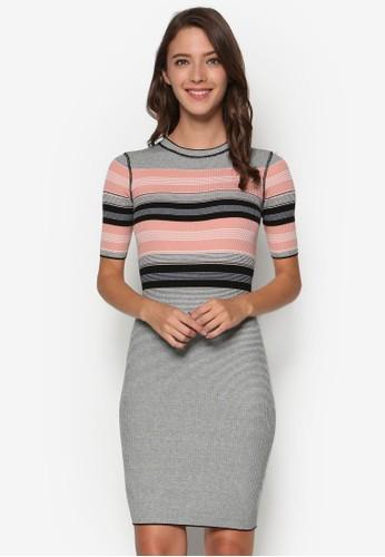 Alexisesprit台北門市 條紋高領連身裙, 服飾, 洋裝