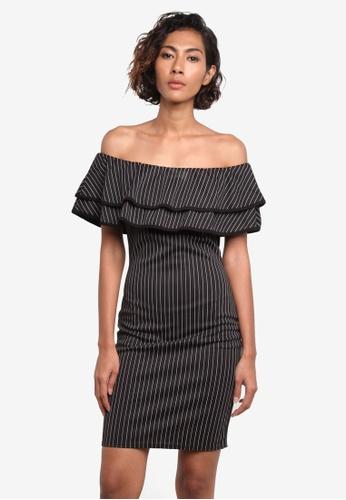 MISSGUIDED black Bardot Double Frill Pinstripe Dress MI511AA0RK9RMY_1