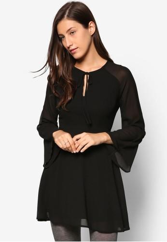 拉克蘭寬長袖傘擺洋裝esprit分店, 服飾, 洋裝