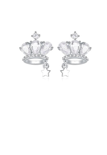 Glamorousky white 925 Sterling Silver Crown Stud Earrings with Cubic Zircon 858F5AC084AEF5GS_1