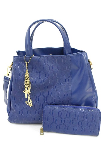 LULUGIFT blue Lulugift US Style 2 in 1 Ladies Multifuctioned Handbag With Wallet Dark Blue LU989AC0RDHLMY_1