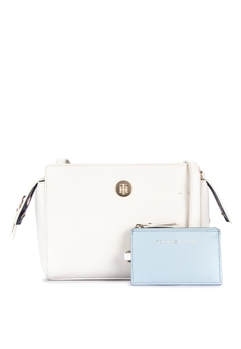 1254f413d1 Tommy Hilfiger white Charming Tommy Crossover Solid Tone Faux Leather Sling  Bag With Monogram 71E0AACA7A3D3CGS_1