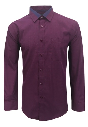 Pacolino red and pink and blue and purple Casual Smart Long Sleeve Shirt E1DD9AA8A3EFFEGS_1