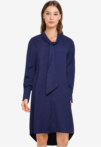 ZALORA WORK navy Tie Neck A Line Mini Dress B2BE1AAD5072A0GS_1