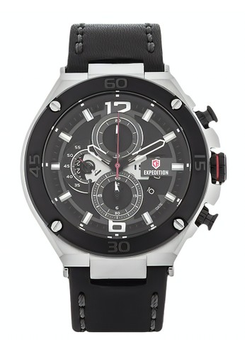 Expedition black Expedition Jam Tangan Pria - Black Silver - Leather Strap - 6756 MCLTBBA 0B63FAC2B8575BGS_1