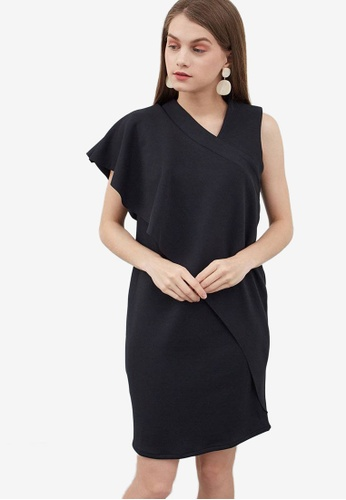 Berrybenka black Hollin Drape Dress 55C02AA549C2B0GS_1