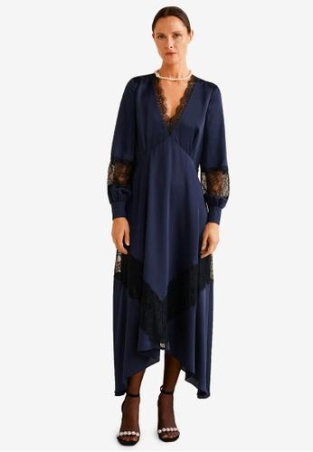 Mango blue Lace Panel Dress F1CA1AA228C6C5GS_1