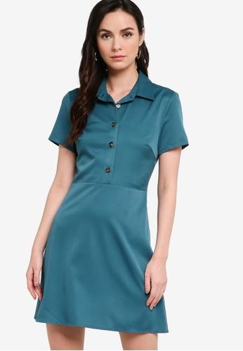 ZALORA WORK green Half Placket Mini Shirt Dress B9F19AABCF779AGS_1