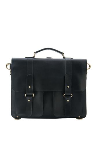 The Tannery Manila black Ralph, Genuine Leather Black JCI Messenger Bag TH690AC27EVGPH_1