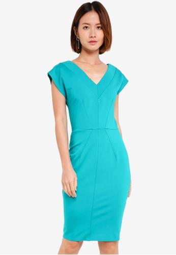 CLOSET blue V-Neck Bodycon Dress F9BA0AA47484C0GS_1