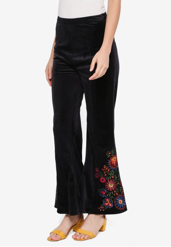 Zalia black Embroidered Flare Pants 4656CAAF64C45CGS_1