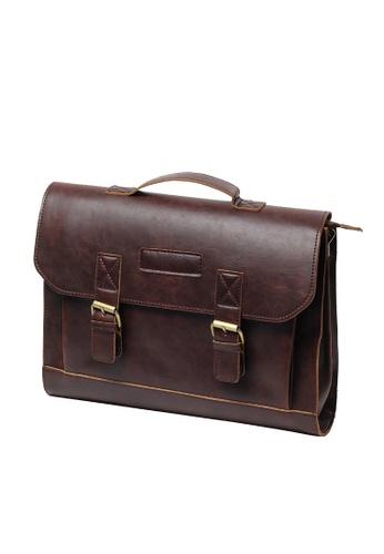 Lara brown Top Handle Flap Buckle Briefcase - Brown 52D8BACC2BFD3CGS_1