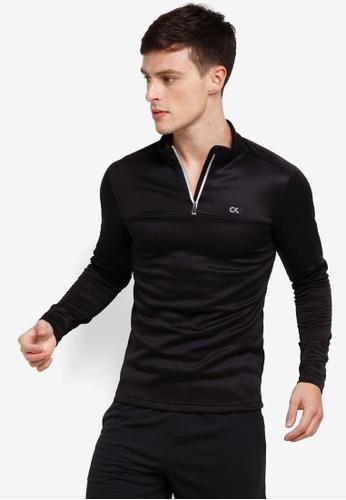 Calvin Klein 黑色 LOGO拉鍊T恤 BF907AA07743FFGS_1