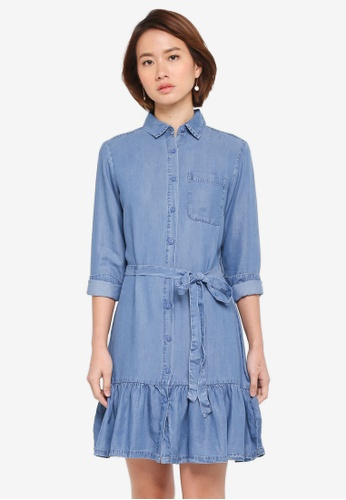 Dorothy Perkins blue Midwash Peplum Hem Shirt Dress BA9B1AAB142148GS_1