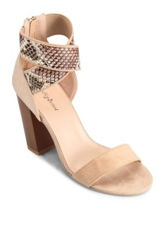 【ZALORA】 蛇紋交叉踝帶粗跟涼鞋