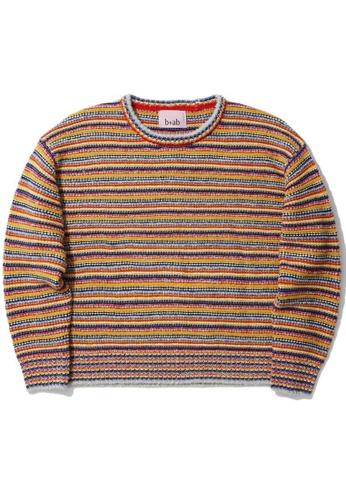 b+ab orange Multicolour stripe sweater 85B52AAC61E4BDGS_1