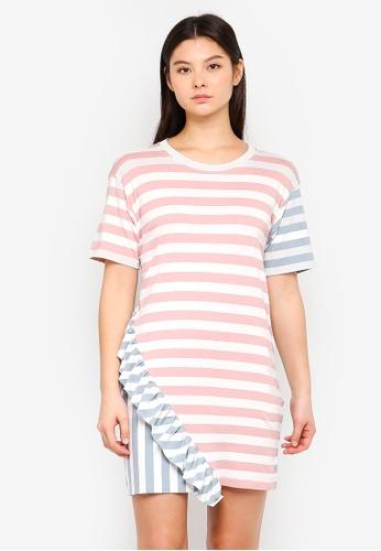 Something Borrowed pink Asymmetric Ruffle Tee Dress 7A2C4AA5D89FE7GS_1