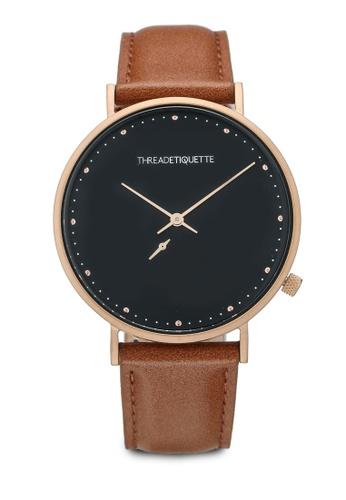 Thread Etiquette multi Chrono-Matte Rose Gold/Tuscan Tan Timepiece DE94FACE5450E2GS_1