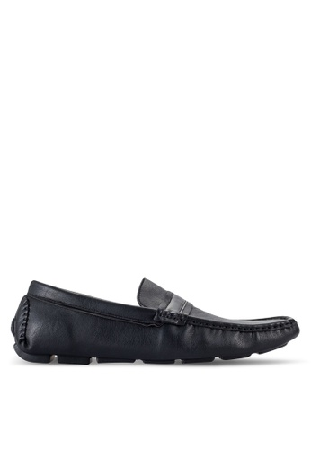 UniqTee black Moc Toe Penny Loafers UN097SH76RQTMY_1