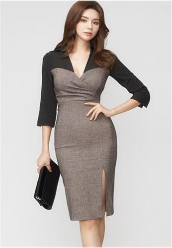 Crystal Korea Fashion black Autumn New Color Matching Deep V-neck Split Dresses 9DC3CAA38F1066GS_1