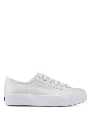 Keds silver Triple Kick Metallic Linen Sneakers KE942SH0STFWMY_1