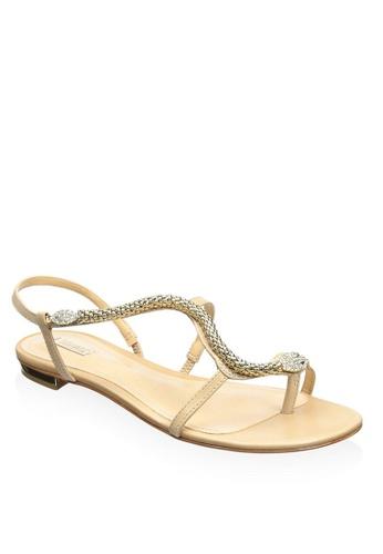 Covet beige Schutz Alma Flat Sandal With Metal Snake CO331SH85HFUPH_1