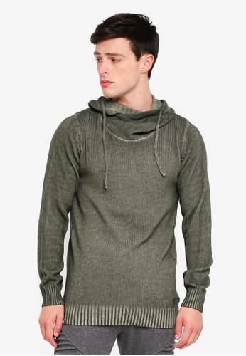 Indicode Jeans green Bobby Hooded Washed Knitted Sweater E3AE9AA8476906GS_1