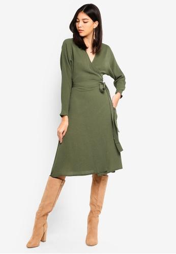 25de8ec6a2 MISSGUIDED green Wrap Tie Waist Long Sleeve Midi Dress F84A7AA9B17D9FGS 1