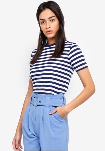 TOPSHOP navy Stripe Viscose T-Shirt 72899AA6DC3025GS_1