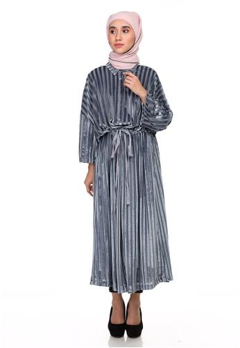 KASHKHA blue KASHKHA VELVET STRIPES DRESS BDEE5AAE081C3BGS_1