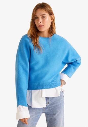 Mango blue Knit Cotton Sweater B612CAACA450A2GS_1