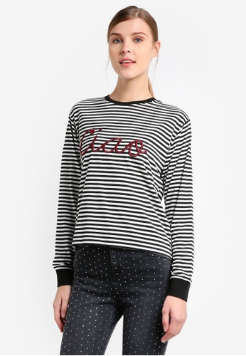 TOPSHOP white Ciao Embroidered Stripe Long Sleeve Tee TO412AA0T0UVMY_1