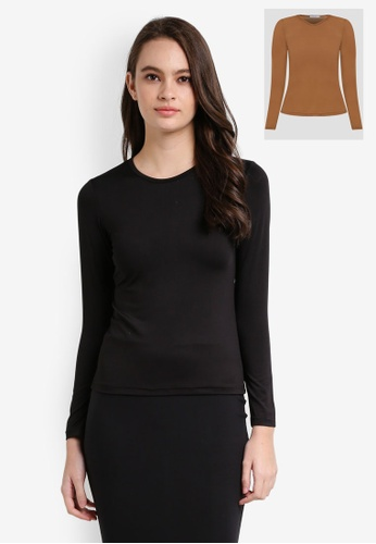 Lubna black and brown Basic Crew Neck Inner Top 39350AA73F2308GS_1